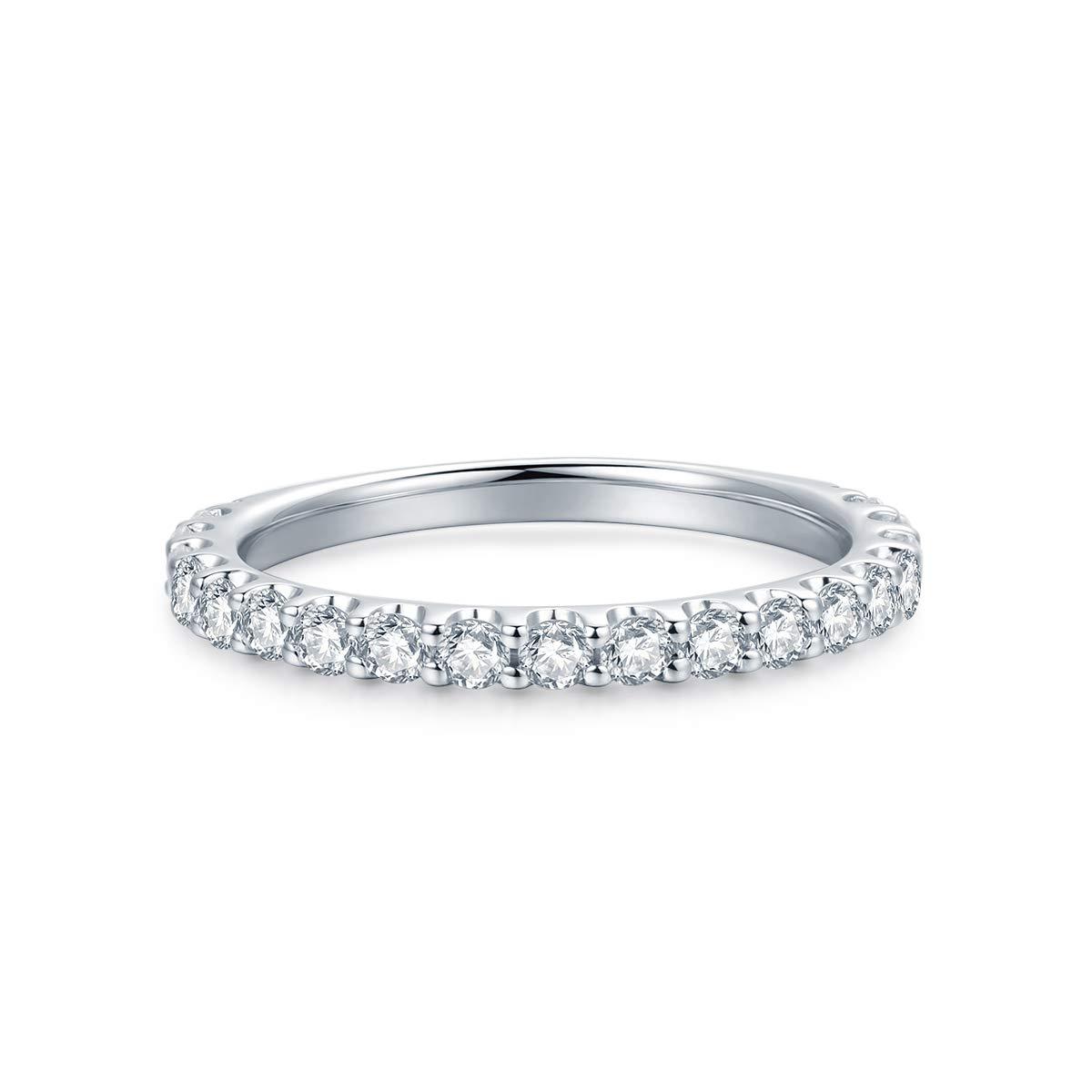 3mm Rhodium Plated Sterling Silver Simulated Diamond Cubic Zirconia CZ Half Eternity Wedding Ring (5.5)