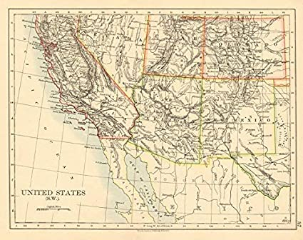 Map Of Arizona Utah Border.Amazon Com Usa South West California Arizona Nm Colorado Utah