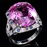 by luckyHuge 4.5ct Pink Sapphire Woman Man 925 Silver Ring Wedding Cocktail Size 6-10 (9)