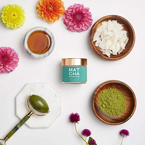 Matcha Obsessed - All Natural Organic Matcha Green Tea Clay Mask, Antioxidant, Gentle Exfoliation with Moisturizing Coconut, Reduce Acne, Great for All Skin Type, 2 fl oz