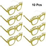 tinksky 10pcs happy new year glitter glasses fancy decorative eyeglasses frame photo prop for party decor