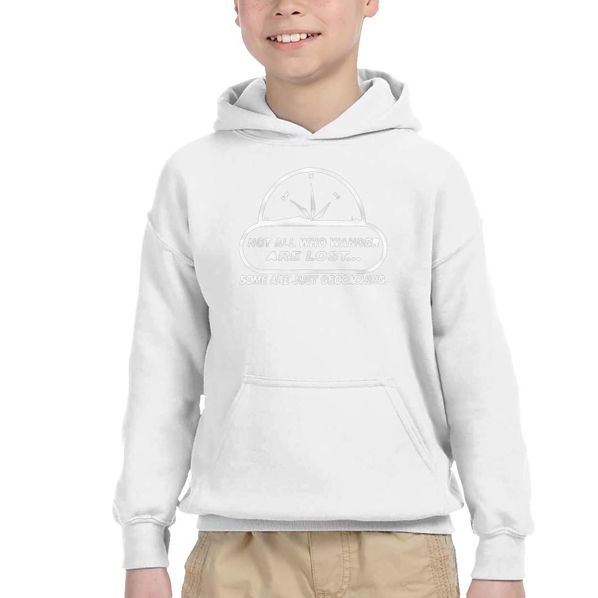 2-6 Year Old Childrens Hooded Pocket Sweater Classical Elegance and Originality Not All Wander Lost Geocaching Logo White 3T