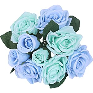 Anlise Artificial Flowers Silk 9 Heads Fake Roses Bunch Bouquet Flower for Bridal Wedding Party Home Festival Bar Décor, Blue 10