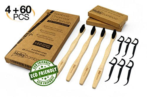 4 Pack Natural Bamboo Toothbrush + BONUS 60 Charcoal Floss Picks, Biodegradable, Soft Charcoal-Infused Nylon Bristles