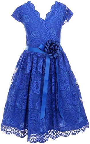 - Little Girl Cap Sleeve V Neck Flower Border Stretch Lace Corsage Belt Flower Girl Dress (20JK66S) Royal 4