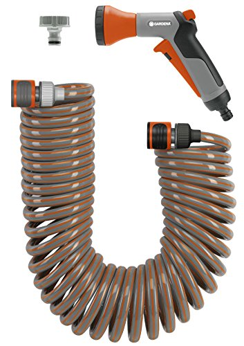 Gardena 4647-U 33-Foot Spiral Coil Garden Hose and Nozzle Set
