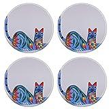 MSD Round Coasters Non-Slip Natural Rubber Desk Coasters design: 38513815 Colorful cat alebrije Mexican artcraft