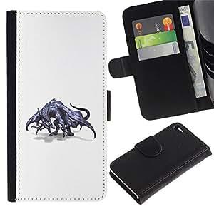 All Phone Most Case / Oferta Especial Cáscara Funda de cuero Monedero Cubierta de proteccion Caso / Wallet Case for Apple Iphone 4 / 4S // Dragon Grey Mythical Art Wild Drawing