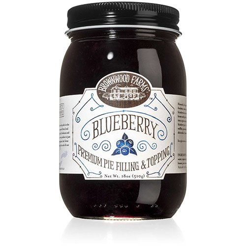 - Brownwood Farms Blueberry Pie Filling - 18 oz Best Made in USA Gluten-free - W/ Michigan Great Lakes Blueberries - For Chef Baking Topping - Pancake - Cheesecake - Ice cream - Yogurt (BFBF 18)