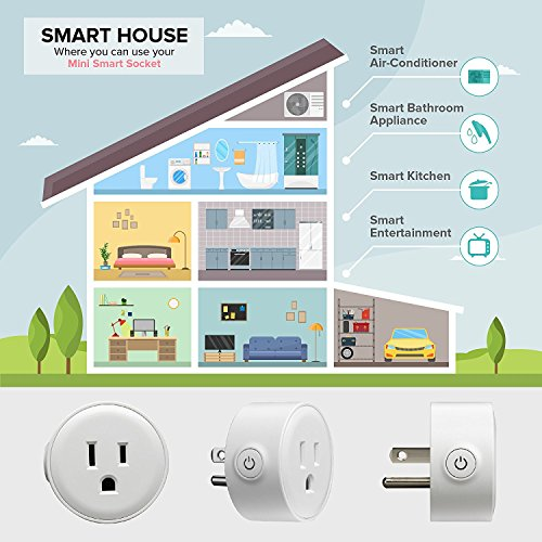 2018 Smart Plug Alexa Accessories Outlet 2 Pack,Compatible With Alexa/Google Home,WiFi Smart Socket Outlet Remote Control For Phone,No Hub Required by E-SmartPrime (Image #6)