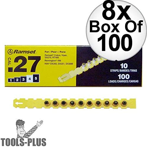"""Ramset 4RS27 Box of 100#4""""Yellow"""" 27 cal Strip Loads 8-Pack"""
