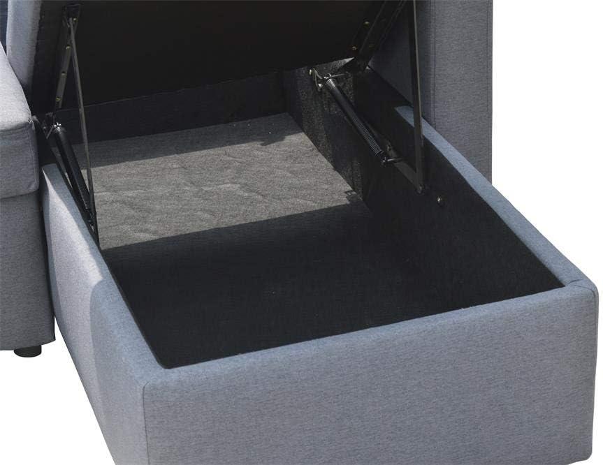 Veggo SCANDINAVIAN STYLE CORNER SOFA BED GREY FABRIC WITH STORAGE