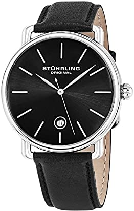 Stuhrling Original Mens Watch Calfskin Leather Strap - Vintage Style Lugs - Analog Watch Dial with Date, 3913 Watches for Men Collection