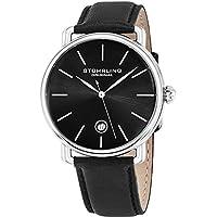 Stuhrling Original Ascot Mens Black Watch - Swiss Quartz Analog Date Wrist Watch for Men - Stainless Steel Mens Designer Watch with Black Leather Strap 768.02