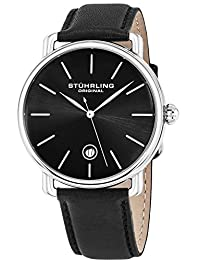 Stuhrling Original Men's 768.02 Classic Ascot Agent Stainless Steel and Black Leather Date Watch