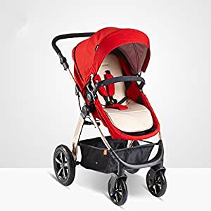 2in1 4 Wheels Aluminium Baby pram/Stroller/Jogger from Birth to 36month (RED)