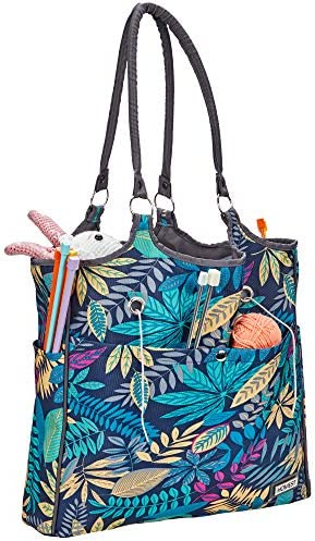 HOMEST Yarn Storage Tote, Tangle Free with 4 Oversized Grommets, Knitting and Crochet Organizer, Large Craft Supplies Bag with Drawstring Closure, Floral