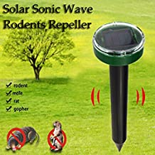 Ultrasonic Solar Mole Repellent, Powered Electric Mouse Insect Repellent Device Repelling Mole, Rodent, Vole, Shrew, Gopher, Snake for Outdoor Lawn Garden Yards Pest Control