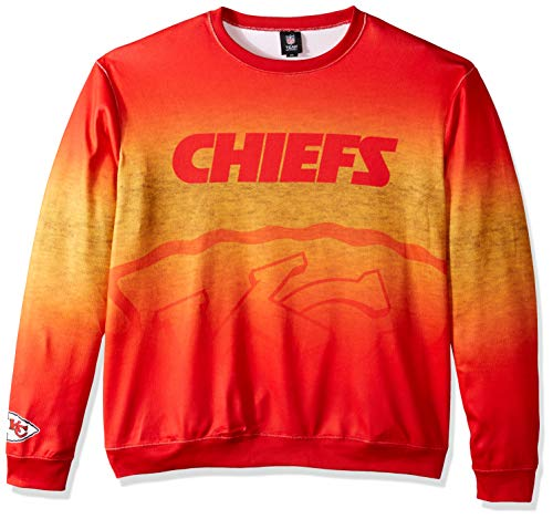 FOCO NFL Kansas City Chiefs Printed Gradient Crew Neck Sweater, Team Color, Large - Kansas City Chiefs Crew Sweatshirt