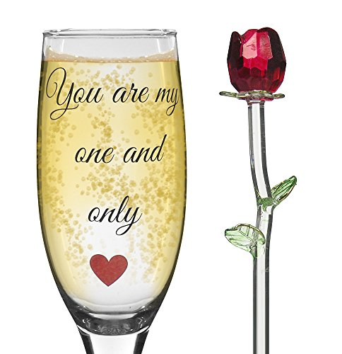 Champagne Glass with Red Crystal Rose - You Are My One and Only Loving Saying - Champagne Flute for Wife, Girlfriend or Sweetie (Flute Love True)