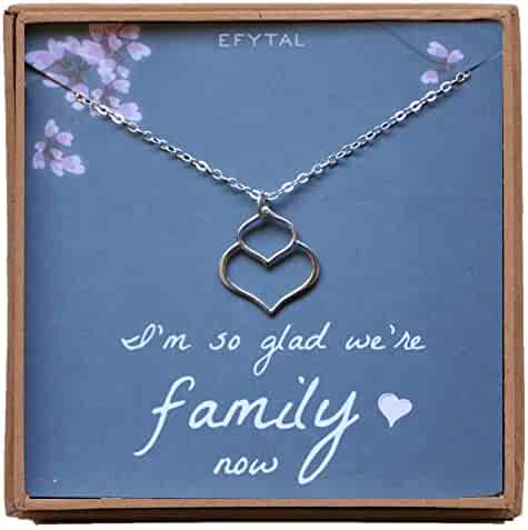 9105401f3e133f EFYTAL Mother, Sister, Daughter in Law Necklace, Sterling Silver Small  Double Lotus Jewelry