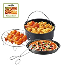 NewBee Universal 4 Piece Air Fryer Accessory Set for Gowise Phillips and Cozyna, Fit all 3.4QT - 5.3QT - 5.8QT + Recipe Book