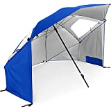 Sport-Brella Super-Brella SPF 50+ Sun and Rain Canopy Umbrella for Beach and Sports Events (8-Foot, Blue)