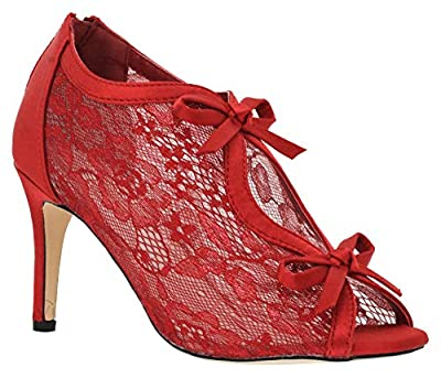 MVE Shoes Women's Lace Bridal High Heel Platform Peep Toe Shootie - Satin Lace Open Toe Cover Dress Pump - Lace High Heel Shootie with Flatback Crystals, red Size 6.5