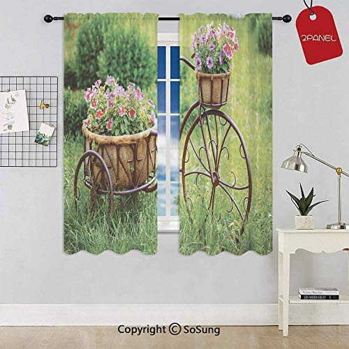 Vintage Antique Rusty Bike with a Basket Flowers in a Spring Time Garden Photo Rod Pocket Sheer Voile Window Curtain Panels for Kids Room,Kitchen,Living Room & Bedroom,2 Panels,Each 42x54 Inch,Multic