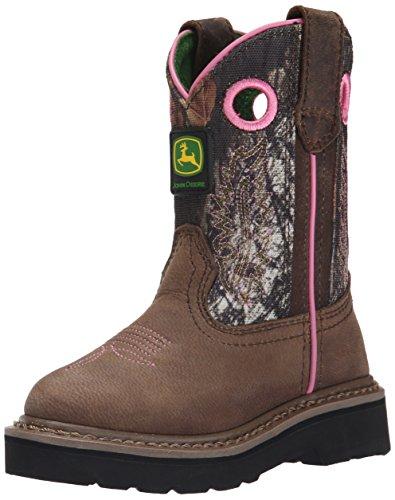 - John Deere Girls' JD2198-K, Dark Brown/Mossy Oak, 8.5 M US Toddler