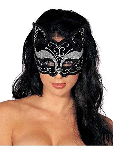 Jacobson Hats Women's Glitter Cat Mask, Black, Adult -