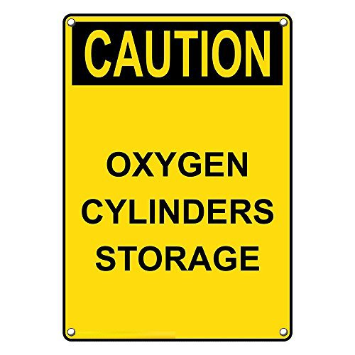 Weatherproof Plastic Vertical OSHA Caution Oxygen Cylinders Storage Sign with English Text (Osha Cylinder Storage)