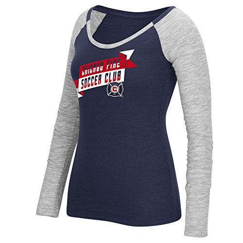 fan products of adidas MLS Chicago Fire Women's Double Line Slant Banner Long Sleeve Tee, Medium, Dark Navy
