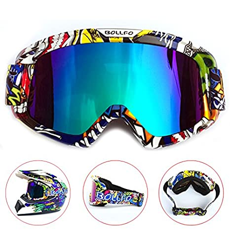 HONCENMAX Motocicleta Gafas de Protecci/ón con M/áscara Facial Desmontable Estilo Harley Casco Equitaci/ón Gafas de Sol Regalo