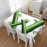 Littletonhome Letter W Dinner Picnic Table Cloth Bamboo Branches Forming Letter W Zen Spa Themed Alphabet Typeset Green Leaves Waterproof Table Cover for Kitchen Green White 60''x84''