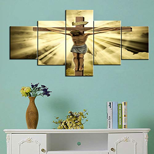 (Jesus Christ on the Cross with Clouds Canvas Wall Art Paintings Cultural Religion 5 Piece Pictures Home Decor for Living Room,Artwork Framed Gallery-wrapped Stretched Ready to Hang(50''Wx24''H))