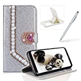 Diamond Wallet Leather Case for Galaxy Note 9,Flip Cover for Galaxy Note 9,Herzzer Luxury 3D Beaded Decor Heart Buckle Magnetic Silver Glitter Stand Case with Inner Soft Rubber Case