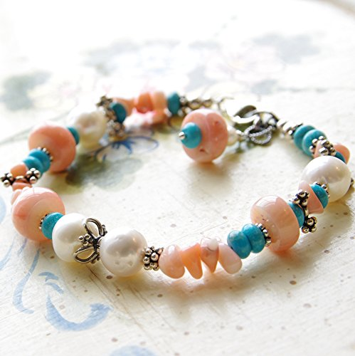 Peach Coral Bracelet White Freshwater Cultured Pearl Turquoise Stone Sterling Silver Bali (Pearl Coral Turquoise Bracelet)