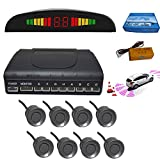 Car Parking Sensor 8 Reversing Sensors Kit White Reverse Backup Radar System Assistance with Front and Rear Buzzer Alert Alarm Reminder + Distance Detection + LED Display
