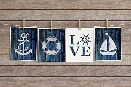 Four Piece Nautical Cardstock Prints 8.5 x11'' Navy Blue by June & Lucy