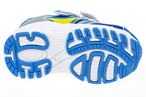 gibra® Niños Deportes zapatos, con cierre de velcro, color azul/amarillo/plata, talla 22–