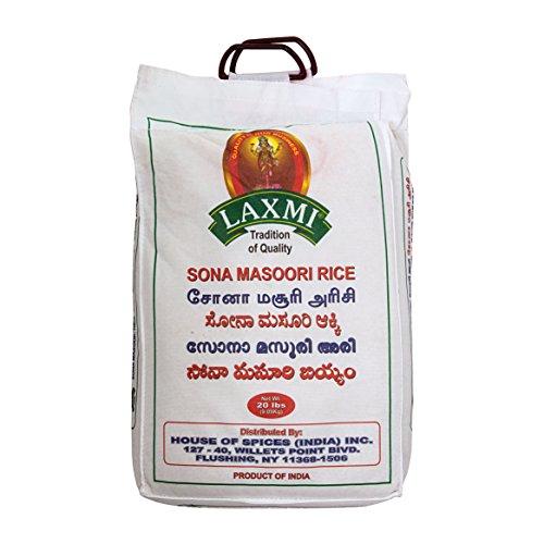 Laxmi All-Natural Sona Masoori Medium Grain Rice, 20 Pounds by Laxmi