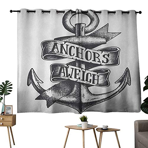 (NUOMANAN Bathroom Curtains Anchor,Tattoo Style Navy Symbol Sketch with Ribbon and Vintage Lettering Insignia,Charcoal Grey White,Light Blocking Drapes with Liner 42