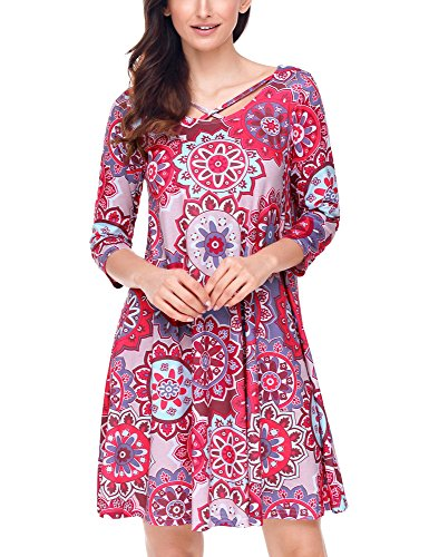 GRAPENT Women's Casual Red Floral Ethnic Print Criss Cross 3/4 Sleeves Shift Dress Size XX-Large (US 20-22)