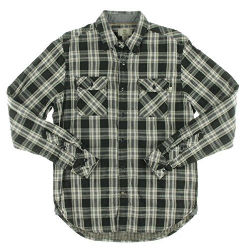 Timberland Long Sleeve Plaid (Timberland Men's Long Sleeve Double Layer Plaid Shirt, Forged Iron, Medium)