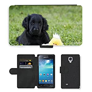 Super Stella Cell Phone Card Slot PU Leather Wallet Case // M00146157 Dog Puppy Black Flat-Coated Retriever // Samsung Galaxy S4 Mini i9190