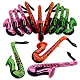 Kicko 24 Inches Saxophone Inflate Pack f 12 - Party Decoration - Party Balloons - Toy for Children - Music Shaped Balloons - Instrument Accessory - Assorted Colors