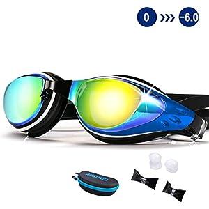 Swim Goggles,Shortsighted Swimming Goggles Myopic with Prescription Lenses Anti Fog Nose Clip Ear Plugs for Women Kids Men, Swimming Goggles