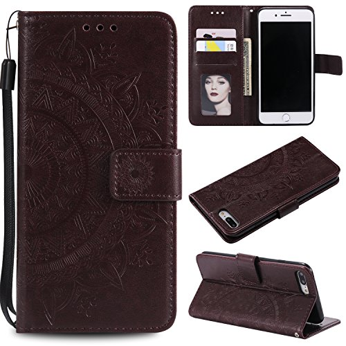 Floral Wallet Case for iPhone 7 Plus 5.5'',Strap Flip Case for iPhone 8 Plus 5.5'',Leecase Embossed Totem Flower Design Pu Leather Bookstyle Stand Flip Case for iPhone 7 Plus /8 Plus 5.5''-Brown by Leecase