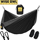 Wise Owl Outfitters Hammock Camping Double & Single Tree Hammocks - USA Based Brand Gear Indoor Outdoor Backpacking Survival & Travel, Portable (DO Black, DoubleOwl)